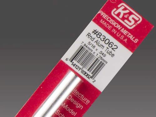 K/&S 300mm Round Aluminium Tube 10mm OD W-KS9809 Pk1 .45mm Wall
